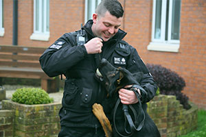 HMP Lowdham Grange - Peter Chojnacki, prison dog handler, and Rory