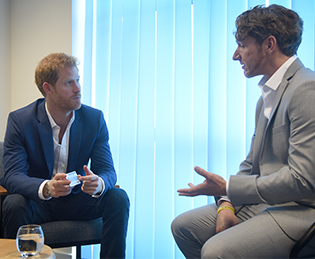 The Headway brain injury ambassador Dominic Hurley speaks to Prince Harry